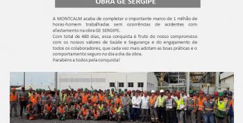 Obra GE SERGIPE - 1.000.000 de horas trabalhadas sem acidentes